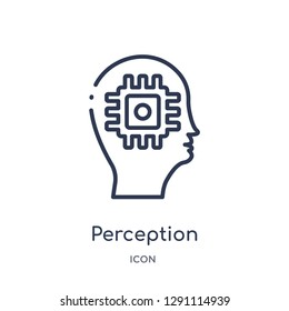 Linear perception icon from Brain process outline collection. Thin line perception vector isolated on white background. perception trendy illustration