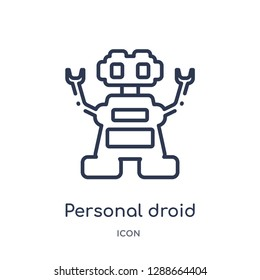Linear personal droid icon from Artificial intellegence and future technology outline collection. Thin line personal droid vector isolated on white background. personal droid trendy illustration