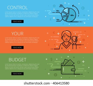 Linear personal finance web banners vector set. Line diagram, man avatar with calculator, purse and banknotes. Design set of graphic outline banners illustration