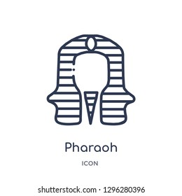 Linear pharaoh icon from Desert outline collection. Thin line pharaoh icon vector isolated on white background. pharaoh trendy illustration