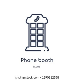 Linear phone booth icon from City elements outline collection. Thin line phone booth vector isolated on white background. phone booth trendy illustration