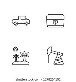 Linear Pick up, Oasis, Chest, Pumpjack Vector Illustration Of 4 outline Icons. Editable Pack Of Pick up, Oasis, Chest, Pumpjack