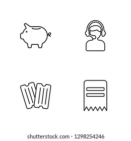 Linear Piggy bank, Coupon, Support, Invoice Vector Illustration Of 4 outline Icons. Editable Pack Of Piggy bank, Coupon, Support, Invoice