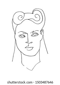 Linear portrait of abstract woman face with retro hairstyle. Continuous line art. One line drawing. Minimalist graphic.