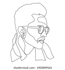 Linear portrait human face in glasses drawn in one continuous line. Minimal linear vector logo design for eyeglass store, vision health clinic, male stylist and hairdresser