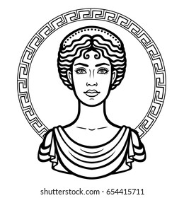 Linear portrait of the young Greek woman with a traditional hairstyle. Decorative circle. Vector illustration isolated on a white background.