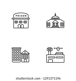 Linear Prison, Police Station, Goverment Building, Airport Vector Illustration Of 4 outline Icons. Editable Pack Of Prison, Police Station, Goverment Building, Airport