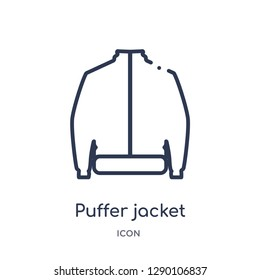 Linear puffer jacket icon from Clothes outline collection. Thin line puffer jacket vector isolated on white background. puffer jacket trendy illustration