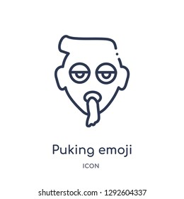 Linear puking emoji icon from Emoji outline collection. Thin line puking emoji icon vector isolated on white background. puking emoji trendy illustration