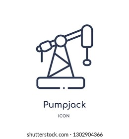 Linear pumpjack icon from Industry outline collection. Thin line pumpjack icon isolated on white background. pumpjack trendy illustration