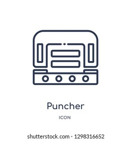 Linear puncher icon from Miscellaneous outline collection. Thin line puncher icon isolated on white background. puncher trendy illustration