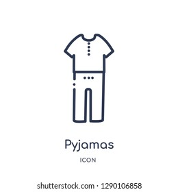 Linear pyjamas icon from Clothes outline collection. Thin line pyjamas vector isolated on white background. pyjamas trendy illustration