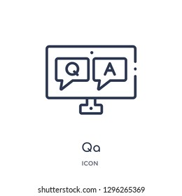 Linear qa icon from Elearning and education outline collection. Thin line qa icon vector isolated on white background. qa trendy illustration