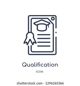 Linear qualification icon from Elearning and education outline collection. Thin line qualification icon vector isolated on white background. qualification trendy illustration