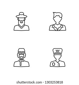 Linear Rabbi, Pilot, Businessman, Chef Vector Illustration Of 4 outline Icons. Editable Pack Of Rabbi, Pilot, Businessman, Chef