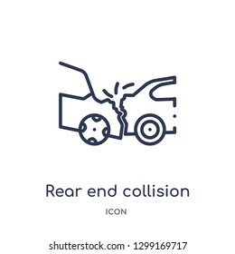 Linear rear end collision icon from Insurance outline collection. Thin line rear end collision icon isolated on white background. rear end collision trendy illustration