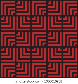 Linear red and black abstract repeating pattern inspired by NZ Maori Tukutuku.
