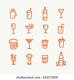 Linear red drinks icons set. Universal drinks icon to use in web and mobile UI, drinks basic UI elements set