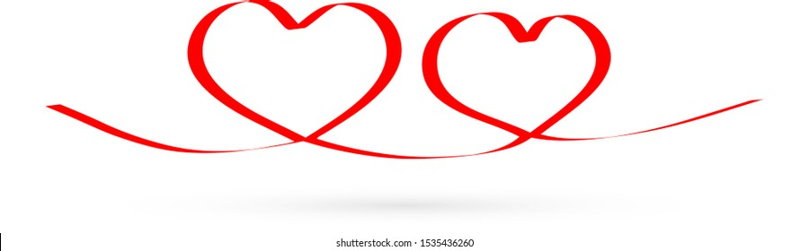 linear red heart, hand drawing icon, doodle stile, vector illustration