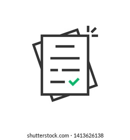 linear report like paperwork logo. stroke flat style trend modern assess or paycheck logotype graphic design on white background. concept of tax free or legal doc standard and tick or checkmark done