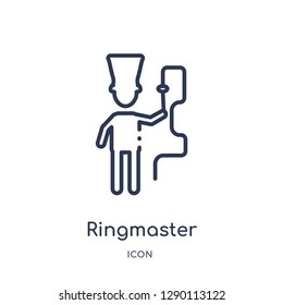 Linear ringmaster icon from Circus outline collection. Thin line ringmaster vector isolated on white background. ringmaster trendy illustration