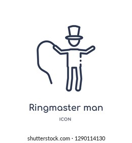 Linear ringmaster man icon from Circus outline collection. Thin line ringmaster man vector isolated on white background. ringmaster man trendy illustration
