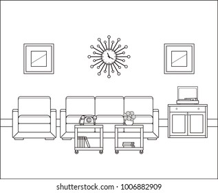Linear room. Retro living room interior in line art. Vector graphics. Thin line illustration in flat design. Vintage home space with sofa, armchair tables 60s. Black, white furniture. Outline sketch.
