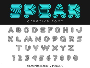 Linear Rounded Design vector Font for Title, Header, Lettering, Logo. Funny Entertainment Active Sport Technology areas Typeface. Letters and Numbers.