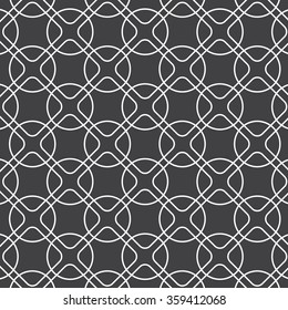 linear rounded diamond shape and circle, vector pattern