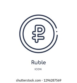 Linear ruble icon from Culture outline collection. Thin line ruble icon vector isolated on white background. ruble trendy illustration