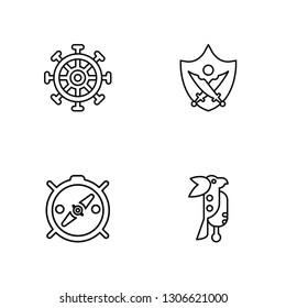 Linear Rudder, Compass, Sword, Parrot Vector Illustration Of 4 outline Icons. Editable Pack Of Rudder, Compass, Sword, Parrot