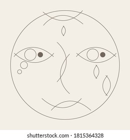 linear sad & cry face flat design vector kunst. geometric shapes head of character. doodle scrible artistic outline concept portrait cartoon isolated. line absract art logo for expressions exhibition