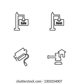 Linear For sale, Paint roll, For rent, Juridical Vector Illustration Of 4 outline Icons. Editable Pack Of For sale, Paint roll, For rent, Juridical