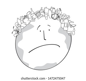 Linear satirical drawing of a sad planet Earth with a haircut in the form of garbage. Ecological problems. Vector full color graphics