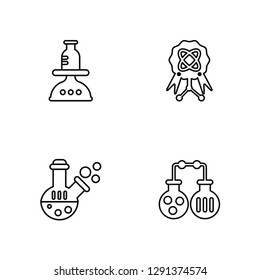 Linear Scale, Flask, Award, Flasks Vector Illustration Of 4 outline Icons. Editable Pack Of Scale, Flask, Award, Flasks