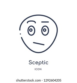 Linear sceptic icon from Emotions outline collection. Thin line sceptic icon vector isolated on white background. sceptic trendy illustration