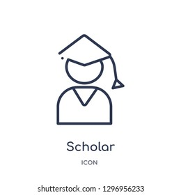 Linear scholar icon from Education outline collection. Thin line scholar icon isolated on white background. scholar trendy illustration