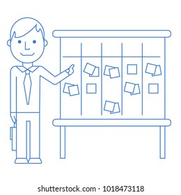 Linear scrum master pointing to kanban board with current tasks sticky notes for team work and visual management. Linear flat vector illustration isolated on white.