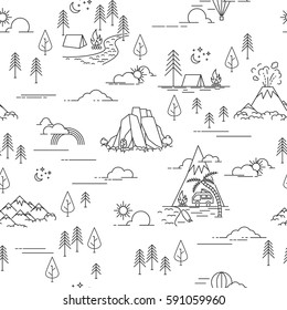 Linear seamless pattern with hiking and landscape elements. Mountains and camp, pine trees and sea, clouds and sun. Black and white outdoor seamless pattern on white background.