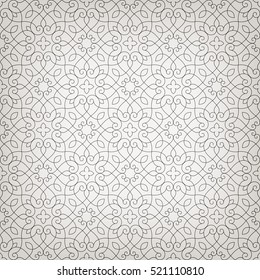 Linear seamless pattern. Stylish decor with elegant lines and curls.  Decorative ornamental lattice