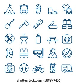 Linear set of camping and tourism icons. Vector illustration