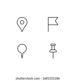 linear set of different pins. button elements for graphic maps for mark the sights and address, roads in town for tourism, find excursion and journey. thin line simple black signs on white background