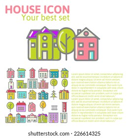 linear set of house icons vector illustration