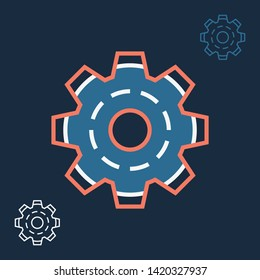 Linear settings icon with image of gear wheel line sign. Vector gear logo concept in trendy style with thin contour cogs symbol for app design, website, and print materials. Color outline icon.