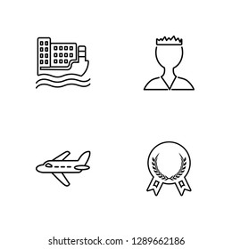 Linear Ship, Plane, Militar strategy, Medal Vector Illustration Of 4 outline Icons. Editable Pack Of Ship, Plane, Militar strategy, Medal