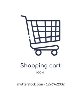 Linear shopping cart with grills icon from Commerce outline collection. Thin line shopping cart with grills icon isolated on white background. shopping cart with grills trendy illustration