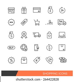 Linear Shopping e-commerce line icons