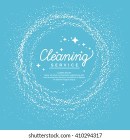 Linear a sign cleaning service on a blue background.