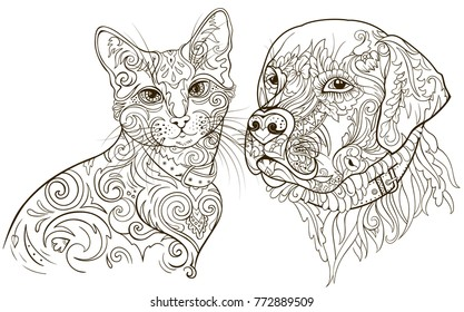 Linear silhouettes cat and dog filled with floral ornament. Vector illustration in style zentangl. Antistress great coloring for adults and children. Pets couple. Monochrome image. Hand drown pattern