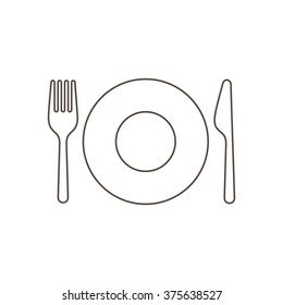 Linear silhouettes of a plate with fork and knife on white background, isolated.